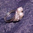 Faux Pearl & Rhinestone Ring  ~ 5 - 5.5