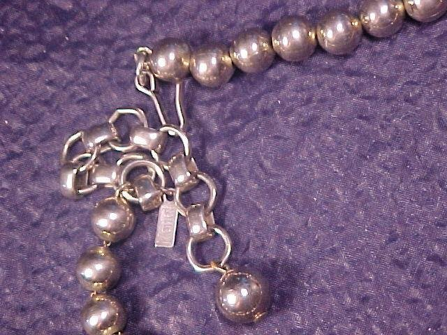 Monet Silver Tone Bead Beaded Adj Necklace