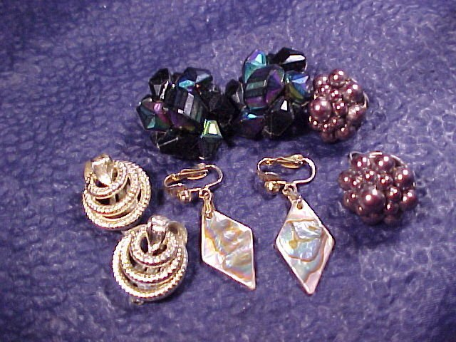 Lisner + Japan Bead MOP 4 Pair Clip Earrings ~ Vintage