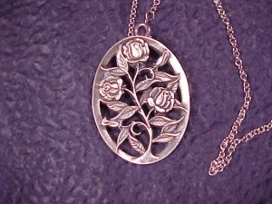 Reed & Barton Pewter June Rose Pendant on Sterling Necklace