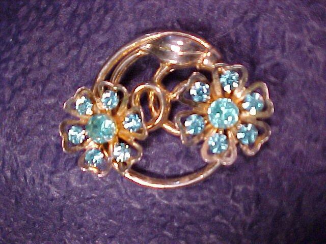 Coro Sparkling Blue Turquoise Rhinestone Pin