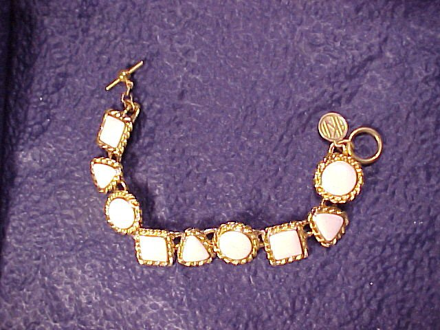 Anne Klein Cream & Gold Costume Link Bracelet