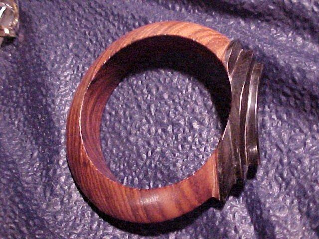 Art Deco Styled Carved Wood Bracelet