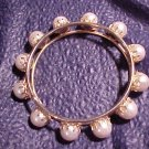 Vintage Gold Tone & Faux Pearl Bangle Bracelet