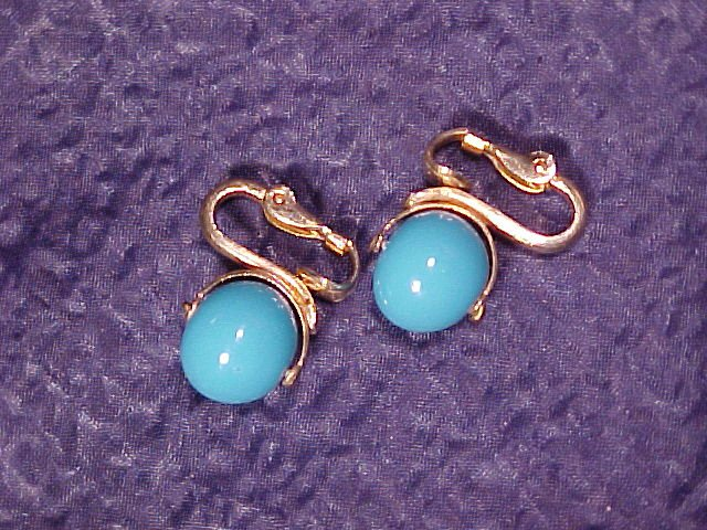 Napier Costume Clip Earrings ~ Robin's Egg Blue Glass