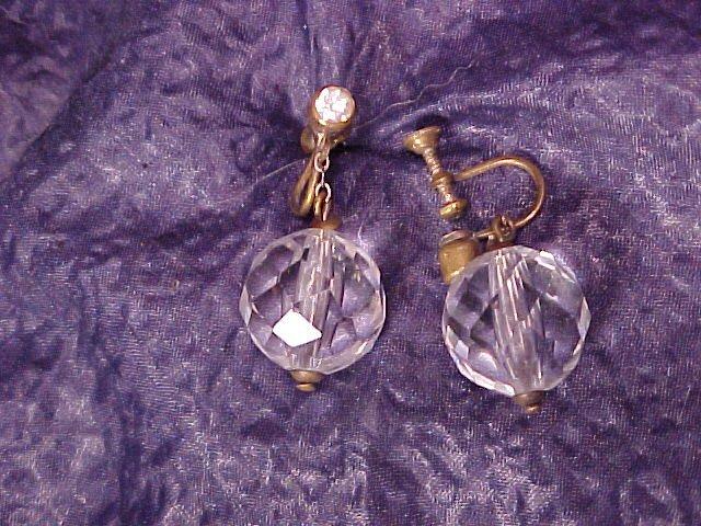 Vintage Faceted AB Crystal Drop Earrings