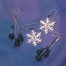 2 Pair Sterling Silver Earrings ~ Snowflakes & Jade