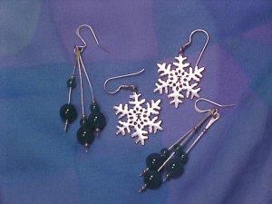 2 Pair Sterling Silver Earrings ~ Snowflakes & Jade