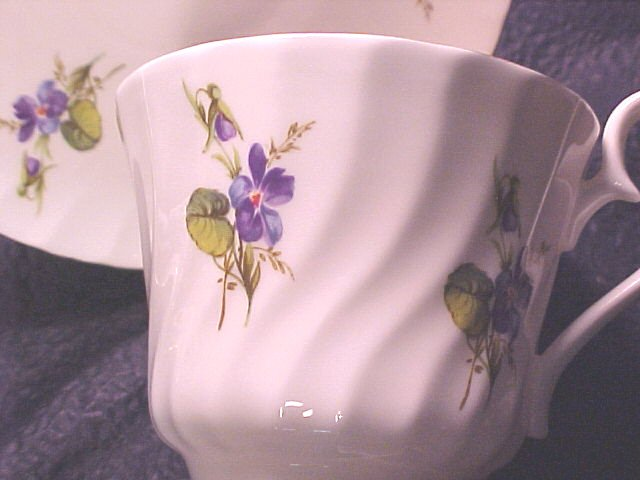 VIOLETS House of Global Art England Bone China Cup & Saucer