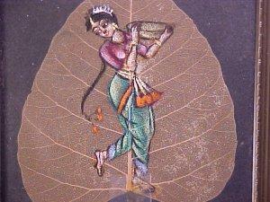 1967 Hand Painted Dancer on Leaf Framed