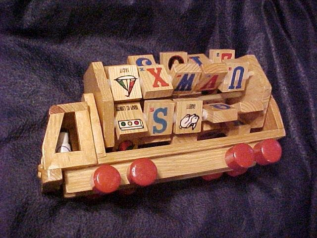 Old Fashioned Wood Alphabet TOY TRUCK