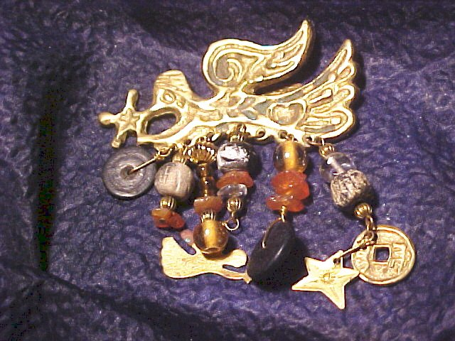 Beaded Antiqued Angel Charm Pin