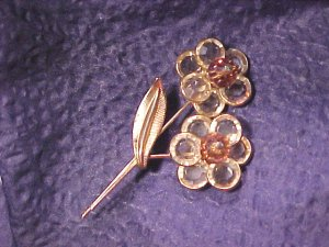 Rootbeer Rainbow Crystal Vintage Pin