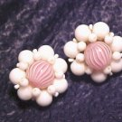 Germany Pink Candy Swirl Glass Bead Clip Earrings