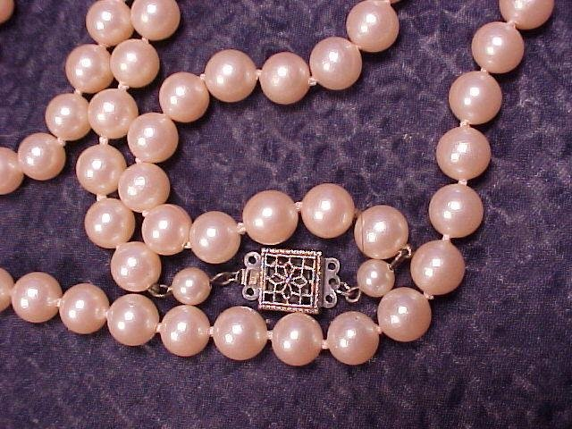 "22"" 6mm Knotted Faux Pearl Glass Bead Necklace"