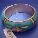 Turquoise Blue and Brass Wide Bangle Bracelet ~ FREE SHIPPING
