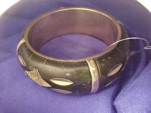 Brass & Deep Green Wide Bangle Bracelet