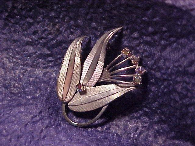 AB Rainbow Rhinestone Vintage Pin ~ Free shipping !