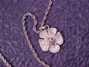 "Wells Sterling Silver 16"" Chain & Flower Pendant ~ Free Shipping"