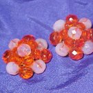 Orange & Crystal Swirl Antique Clip Earrings Japan Bead