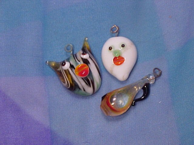 Vintage Whimsical Art Glass Pendants or Beads - Free shipping