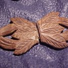 Antique Carved Wood Buckle ~ Leather / Fabric