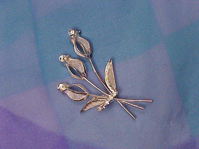 Vintage Crystal Silver Mesh Rhinestone Pin ~ Free shipping!