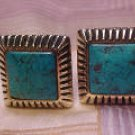 Anson Cufflinks Cuff Link Set Pair Gold & Turquoise - Free Shipping!