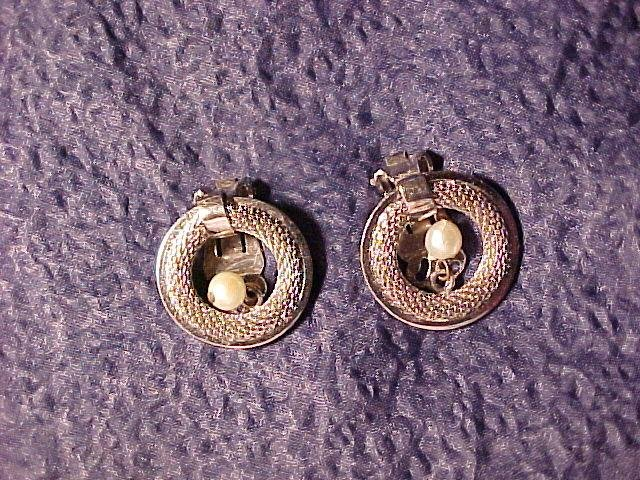Kramer Clip Earrings Faux Pearl & Silver Mesh