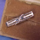 Anson Silver & Blue Rhinestone Baguette Tie Clip Clasp ~ Free Shipping