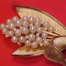 Vintage Crown Trifari Rhinestone & Faux Pearl Costume Pin
