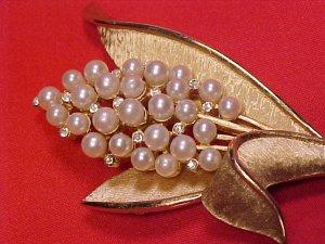 Vintage Crown Trifari Rhinestone & Faux Pearl Costume Pin