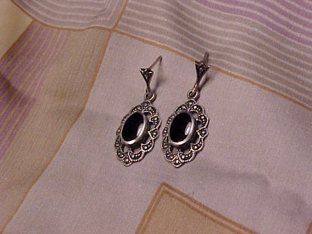 Sterling Silver & Onyx Pierced Earrings
