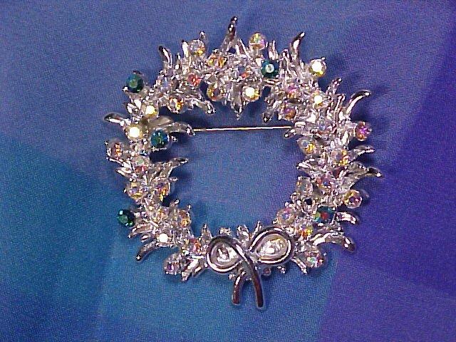 Sparkling AB Rainbow & Teal Rhinestone Christmas PIN ~ Free Shipping!