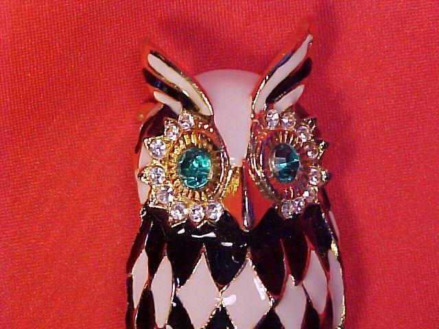 Vintage Harlequin Enamel Rhinestone Gold Tone Owl PIN ~ Free Shipping