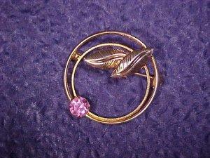 Vintage Costume Jewelry Pink Rhinestone Scarf Ring PIN ~ free shipping
