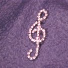 Vintage Rhinestone Covered Musical Note Pin G Clef