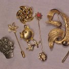 Lot of 6 Costume Jewelry Pins ~ Stick pins Chick Vintage +