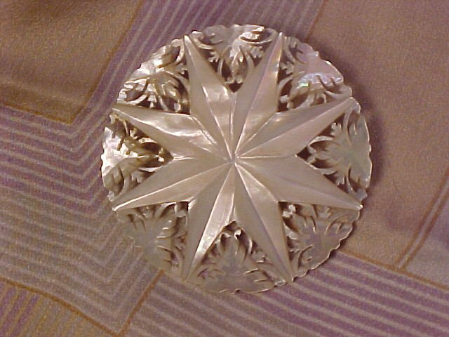 Antique Lace Carved Mother of Pearl Star Pin