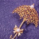 Mamselle Umbrella Faux Pearl Vtg Pin Brooch