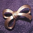 Gold Bow Textured Costume Pin Jewelry Scarf
