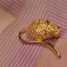Gold Nugget Rhinestone Mouse Pin Costume Jewelry - Free Shipping