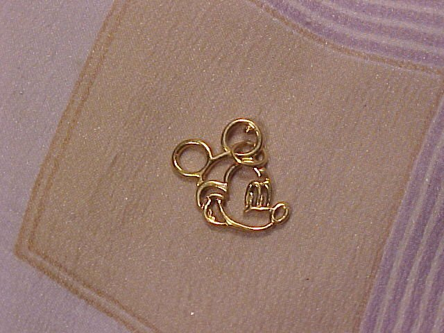 Sterling Silver Gold Wash Mickey Mouse Charm / Pendant