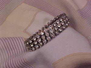 Vintage Trio Rhinestone Band Evening Bracelet