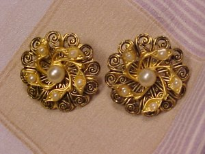 Antique Scatter Pins Faux Pearl Filigree ~ Free Shipping
