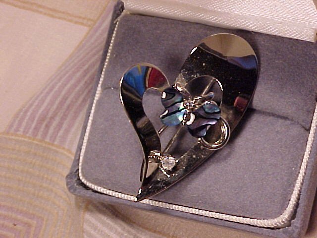 Silver Heart &  Blue Shell Butterfly Brooch Pin ~ Free Shipping