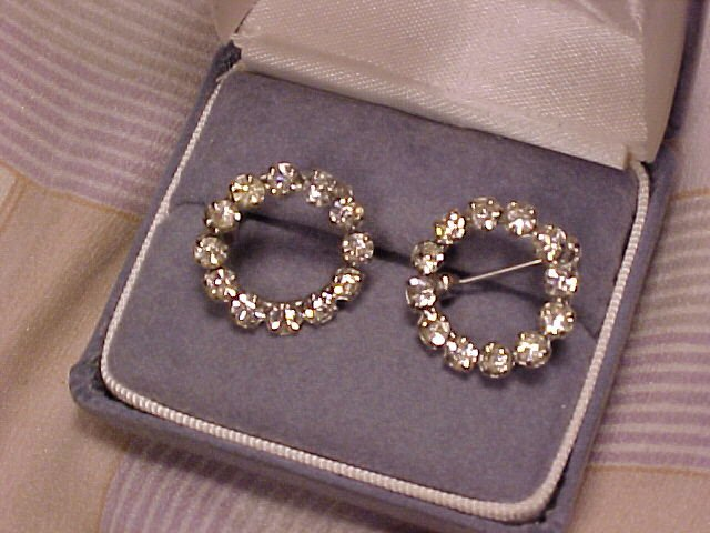 Antique Rhinestone Pin Pair Dress Clip Shoe Scarf