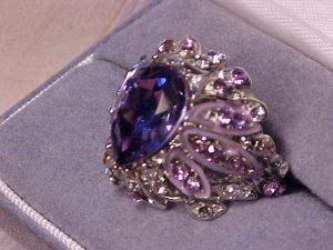 Lavender & Lilac Crystal Rhinestone Cocktail Ring HUGE