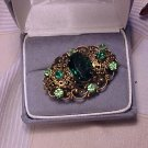 Vtg Green Rhinestone Collar Pin Brooch Costume Jewelry
