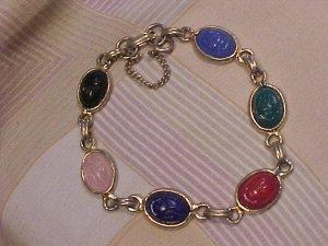 Vintage Scarab Bracelet Semi Precious Stones ~ Free Shipping
